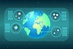 Abstrakt teknologi visade användbart material på planetjord Arkivfoton