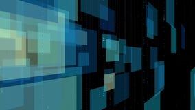 Abstrakt teknologibakgrund - fyrkantiga paneler och cirklar som flyger på ren svart royaltyfri illustrationer