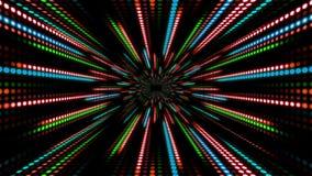 Abstrakt teknologibakgrund med animeringultrarapid av blått för gräsplan för ljus bandprickcirkel röda stock video