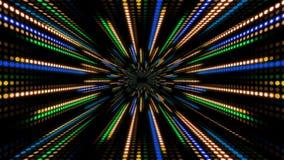 Abstrakt teknologibakgrund med animeringultrarapid av den ljusa apelsinen för blå gräsplan för bandprickcirkel stock video