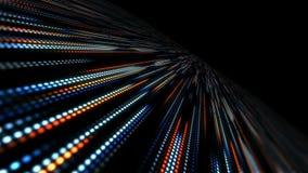 Abstrakt teknologibakgrund med animeringultrarapid av den ljusa apelsinen för blått för bandprickcirkel stock video