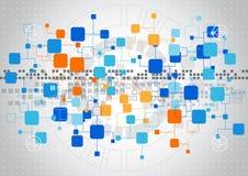 Abstrakt teknologibakgrund med olika teknologiska beståndsdelar