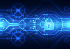Abstrakt teknologisäkerhet på bakgrund för globalt nätverk, vektorillustration royaltyfri illustrationer