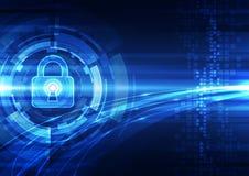 Abstrakt teknologisäkerhet på bakgrund för globalt nätverk, vektorillustration stock illustrationer