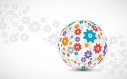 Abstrakt teknologisfärbakgrund Begrepp för globalt nätverk royaltyfri illustrationer