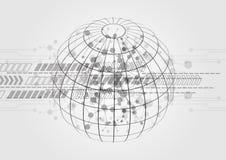 Abstrakt teknologisk bakgrund med ingrepps- och piltechnologi Arkivfoto