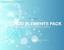 Abstrakt teknologivektorbakgrund Baner för HUD UI kommunikationsbegrepp i modern blå bakgrund Royaltyfria Bilder