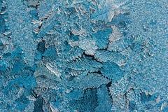 Abstrakt textur av blåa ismodeller på det glass slutet upp Royaltyfri Fotografi
