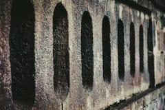 Abstrakt textur av grå bakgrund för tegelstenvägg Övre detalj för slut Arkivbilder