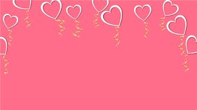 Abstrakt textur av vita ballonger i formen av hjärtor med skuggor och ett guld- band för lyckliga helgonvalentin dag stock illustrationer