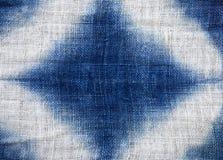 Abstrakt textur för blått- och vitbomullstyg Arkivbild
