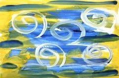 Abstrakt texturerad färgrik bakgrund för vattenfärg med blåa och gula penseldrag och vit krullning vektor illustrationer