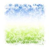 Abstrakt texturerad ram för för vattenfärghimmel och gräs fyrkant Royaltyfria Bilder