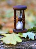 Abstrakt timglas på ekblad Arkivbild
