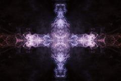 Abstrakt tjock kulör rök på en svart bakgrund med en monste vektor illustrationer
