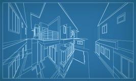Abstrakt tolkning 3D av byggnadswireframestrukturen vektor vektor illustrationer