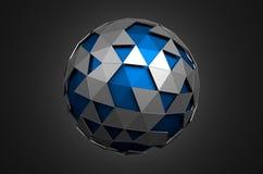 Abstrakt tolkning 3d av den låga poly blåa sfären med Arkivbild