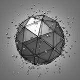 Abstrakt tolkning 3d av den låga poly metallsfären Arkivfoton