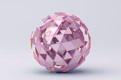 Abstrakt tolkning 3D av den Polygonal sfären Royaltyfri Fotografi
