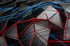 Abstrakt tolkning 3D av låg Poly svart yttersida Royaltyfria Foton
