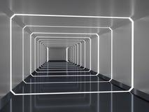 Abstrakt tolkning 3d av rymdskeppkorridoren Royaltyfri Fotografi