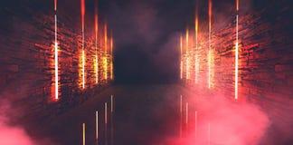 Abstrakt tom gammal tunnel, korridor, båge, mörkt rum, neonbelysning, tjock rök, smog arkivbild