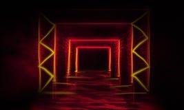 Abstrakt tom gammal tunnel, korridor, båge, mörkt rum, neonbelysning, tjock rök, smog arkivfoton