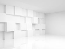 Abstrakt tom inre 3d med vita kuber Arkivbilder
