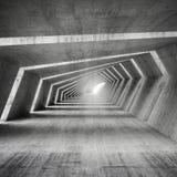 Abstrakt tom inre för böjelsebetongkorridor, 3d royaltyfri illustrationer