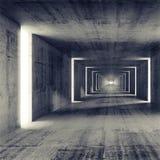 Abstrakt tom inre för mörkerbetongtunnel stock illustrationer