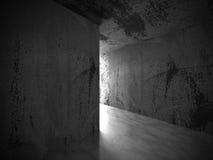 Abstrakt tom inre för mörkt rum med rostiga väggar arkitektur Royaltyfria Bilder