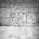 Abstrakt tom inre för vitt rum med att belägga med tegel för sten Royaltyfria Foton
