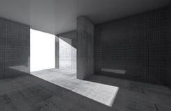 Abstrakt tom ruminre med det konkreta golvet royaltyfri illustrationer