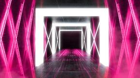 Abstrakt tom tunnel, korridor, exponerad av neonljus, r?k arkivbild
