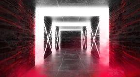 Abstrakt tom tunnel, korridor, exponerad av neonljus, r?k arkivfoton