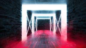 Abstrakt tom tunnel, korridor, exponerad av neonljus, r?k fotografering för bildbyråer
