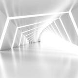 Abstrakt tom upplyst vit skinande vriden korridorinre stock illustrationer