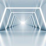 Abstrakt tomt ljus - blå glänsande korridorinre Royaltyfria Foton