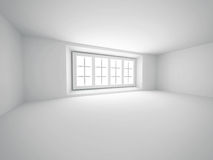 Abstrakt tomt vitt rum med fönstret Arkivfoto