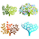 Abstrakt träd - grafiska beståndsdelar - fyra säsonger Royaltyfria Bilder
