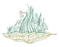 abstrakt trädgårds- illustration stock illustrationer