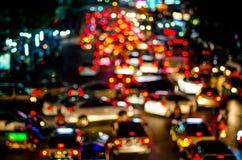 Abstrakt trafikbelysning som är suddig Fotografering för Bildbyråer