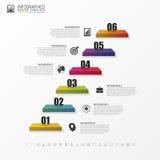 Abstrakt trappa 3d Infographic eller timelinemall vektor Arkivfoto