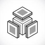 Abstrakt tredimensionell form, beståndsdel för vektordesignkub Arkivfoto