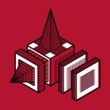Abstrakt tredimensionell form, beståndsdel för vektordesignkub Royaltyfria Bilder