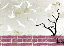 abstrakt tree för silhouette för fågelgrungeraster Royaltyfri Foto