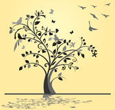 Tree med fåglar stock illustrationer