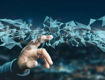 Abstrakt triangel som visas på en futuristisk manöverenhet med linjen Arkivfoto