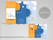 Abstrakt trifold reklamblad, mall eller broschyr för din affär Arkivbilder