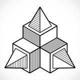 Abstrakt trigonometric konstruktion, dimensionell design t för vektor Arkivbild